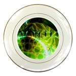 Dawn Of Time, Abstract Lime & Gold Emerge Porcelain Display Plate