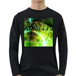 Dawn Of Time, Abstract Lime & Gold Emerge Men s Long Sleeve T-shirt (Dark Colored)