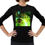 Dawn Of Time, Abstract Lime & Gold Emerge Women s Long Sleeve T-shirt (Dark Colored)