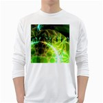 Dawn Of Time, Abstract Lime & Gold Emerge Men s Long Sleeve T-shirt (White)