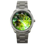 Dawn Of Time, Abstract Lime & Gold Emerge Sport Metal Watch