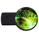 Dawn Of Time, Abstract Lime & Gold Emerge 4GB USB Flash Drive (Round)