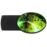 Dawn Of Time, Abstract Lime & Gold Emerge 4GB USB Flash Drive (Oval)