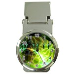 Dawn Of Time, Abstract Lime & Gold Emerge Money Clip with Watch