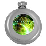 Dawn Of Time, Abstract Lime & Gold Emerge Hip Flask (Round)