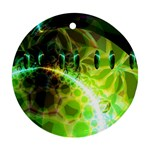 Dawn Of Time, Abstract Lime & Gold Emerge Round Ornament (Two Sides)