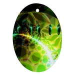 Dawn Of Time, Abstract Lime & Gold Emerge Oval Ornament (Two Sides)