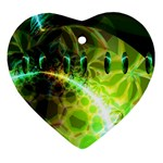 Dawn Of Time, Abstract Lime & Gold Emerge Heart Ornament (Two Sides)