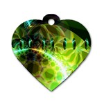 Dawn Of Time, Abstract Lime & Gold Emerge Dog Tag Heart (Two Sided)