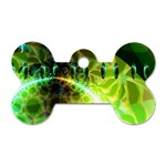 Dawn Of Time, Abstract Lime & Gold Emerge Dog Tag Bone (Two Sided)