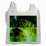 Dawn Of Time, Abstract Lime & Gold Emerge White Reusable Bag (One Side)