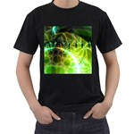 Dawn Of Time, Abstract Lime & Gold Emerge Men s T-shirt (Black)