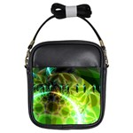 Dawn Of Time, Abstract Lime & Gold Emerge Girl s Sling Bag