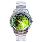 Dawn Of Time, Abstract Lime & Gold Emerge Stainless Steel Watch