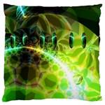 Dawn Of Time, Abstract Lime & Gold Emerge Large Cushion Case (Single Sided)