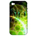 Dawn Of Time, Abstract Lime & Gold Emerge Apple iPhone 4/4S Hardshell Case (PC+Silicone)