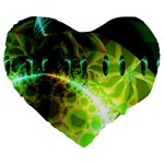 Dawn Of Time, Abstract Lime & Gold Emerge 19  Premium Heart Shape Cushion