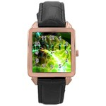 Dawn Of Time, Abstract Lime & Gold Emerge Rose Gold Leather Watch