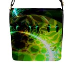 Dawn Of Time, Abstract Lime & Gold Emerge Flap Closure Messenger Bag (Large)