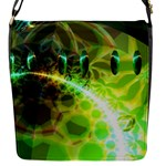 Dawn Of Time, Abstract Lime & Gold Emerge Flap Closure Messenger Bag (Small)