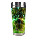 Dawn Of Time, Abstract Lime & Gold Emerge Stainless Steel Travel Tumbler