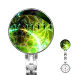Dawn Of Time, Abstract Lime & Gold Emerge Stainless Steel Nurses Watch