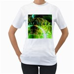 Dawn Of Time, Abstract Lime & Gold Emerge Women s T-Shirt (White)