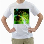 Dawn Of Time, Abstract Lime & Gold Emerge Men s T-Shirt (White)