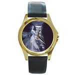 Dark Faery and Night Waterfall Round Gold Metal Watch