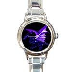 Dark Purple Dragon Fantasy Round Italian Charm Watch
