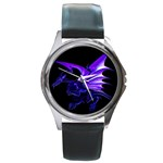 Dark Purple Dragon Fantasy Round Metal Watch