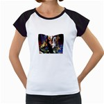 Dragon and Gothic Mistress on Unicorn Women s Cap Sleeve T