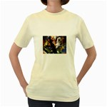 Dragon and Gothic Mistress on Unicorn Women s Yellow T-Shirt