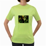Dragon and Gothic Mistress on Unicorn Women s Green T-Shirt