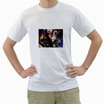 Dragon and Gothic Mistress on Unicorn White T-Shirt