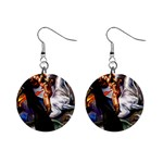 Dragon and Gothic Mistress on Unicorn 1  Button Earrings