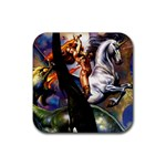 Dragon and Gothic Mistress on Unicorn Rubber Square Coaster (4 pack)