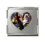 Dragon and Gothic Mistress on Unicorn Mega Link Heart Italian Charm (18mm)