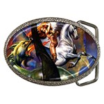 Dragon and Gothic Mistress on Unicorn Belt Buckle