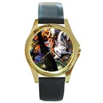 Dragon and Gothic Mistress on Unicorn Round Gold Metal Watch