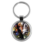 Dragon and Gothic Mistress on Unicorn Key Chain (Round)
