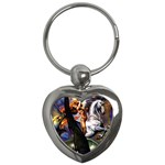 Dragon and Gothic Mistress on Unicorn Key Chain (Heart)