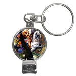 Dragon and Gothic Mistress on Unicorn Nail Clippers Key Chain