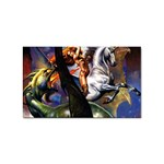 Dragon and Gothic Mistress on Unicorn Sticker (Rectangular)