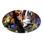 Dragon and Gothic Mistress on Unicorn Magnet (Oval)