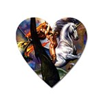 Dragon and Gothic Mistress on Unicorn Magnet (Heart)