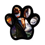 Dragon and Gothic Mistress on Unicorn Magnet (Paw Print)