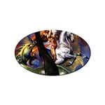 Dragon and Gothic Mistress on Unicorn Sticker Oval (10 pack)