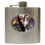 Dragon and Gothic Mistress on Unicorn Hip Flask (6 oz)