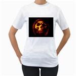 Fiery Skull on Black Women s T-Shirt
